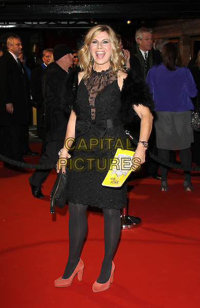 Glynis Barber.Opening Night of 'Singin' in the Rain' at the Palace Theatre, Shaftesbury Avenue, London, England..February 15th 2012.full length black dress fur wrap peach shoes tights lace sheer mouth open.CAP/ROS.©Steve Ross/Capital Pictures