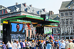 Trek-Segafredo team on stage outside Le Palais des Princes-&Eacute;v&ecirc;ques at the team presentation before the 104th edition of La Doyenne, Liege-Bastogne-Liege 2018, Belgium. 21st April 2018.<br /> Picture: ASO/Gautier Demouveaux | Cyclefile<br /> <br /> <br /> All photos usage must carry mandatory copyright credit (&copy; Cyclefile | ASO/Gautier Demouveaux)