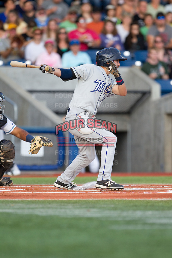 Peter Van Gansen (3) of the Tri-City Dust Devils at bat during a game against the Hillsboro Hops at Ron Tonkin Field in Hillsboro, Oregon on August 24, 2015.  Tri-City defeated Hillsboro 5-1. (Ronnie Allen/Four Seam Images)