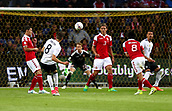 June 6th 2017, Brondby Stadium, in Brondby, Copenhagen, Denmark;  Germany's Leon Goretzka (2nd from left) shoots on goal during the international  match between Denmark and Germany at the Brondby Stadium
