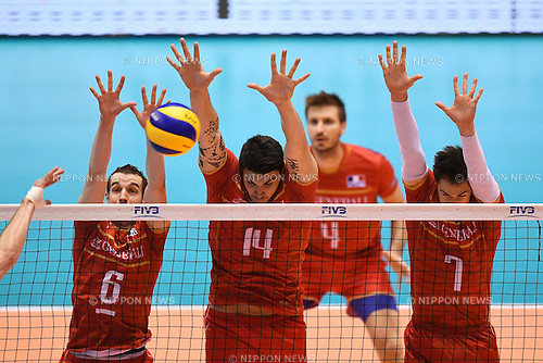(L-R) Benjamin Toniutti, Nicolas Le Goff, Kevin Tillie (FRA),<br /> JUNE 2, 2016 - Volleyball :<br /> Men's Volleyball World Final Qualification for the Rio de Janeiro Olympics 2016<br /> match between France 3-0 Canada <br /> at Tokyo Metropolitan Gymnasium, Tokyo, Japan.<br /> (Photo by AFLO SPORT)