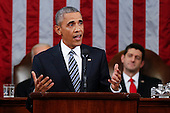 President Barack Obama delivers his State of the Union address to a joint session of Congress on Capitol Hill in Washington, Tuesday, Jan. 12, 2016. <br /> Credit: Evan Vucci / Pool via CNP