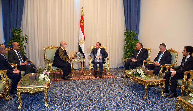 Egyptian President Abdel-Fattah al-Sisi meets with Jordan's Prince Hassan bin Talal on the sidelines of the World Youth Forum in Sharm El Sheikh, Egypt, on Nov. 6, 2017. Photo by Egyptian President Office