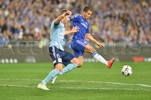 02.06.2015.  Sydney, Australia. Football Friendly. Sydney FC versus Chelsea FC. Chelsea midfielder Eden Hazard and Sydney defender Nikola Petkovic in action. Chelsea won the game 1-0.