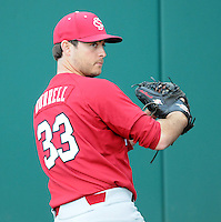 USC LHP Alex Burrell (33) prior to a game between the Furman Paladins and South Carolina Gamecocks Tuesday, March 16, 2010, at Fluor Field at the West End in Greenville, S.C. Burrell is a graduate of Landrum High School. Photo by: Tom Priddy/Four Seam Images