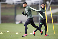 19th February 2020, Hannover, Germany; Sebastian Soto, Hanover watches training of Hanover 96 on the all-around ; Soto, an American born player, has reportedly moved from Hannover to Norwich City of the English Premier league