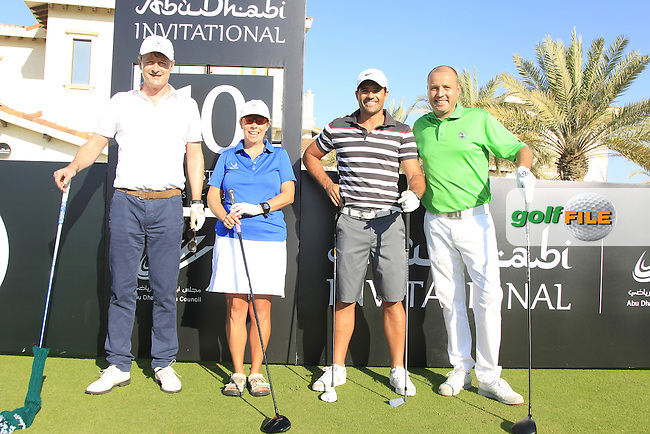 Dominic Murphy, Dale Matthews, Allan Stanton and Paul Doyle on the 10th tee to start their match during the 2015 Abu Dhabi Invitational Am-Am event held at Yas Links Golf Course, Abu Dhabi.: Picture Eoin Clarke, www.golffile.ie: 1/26/2015
