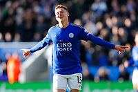 1st February 2020; King Power Stadium, Leicester, Midlands, England; English Premier League Football, Leicester City versus Chelsea; Harvey Barnes celebrates his equalising goal after 53 minutes for 1-1