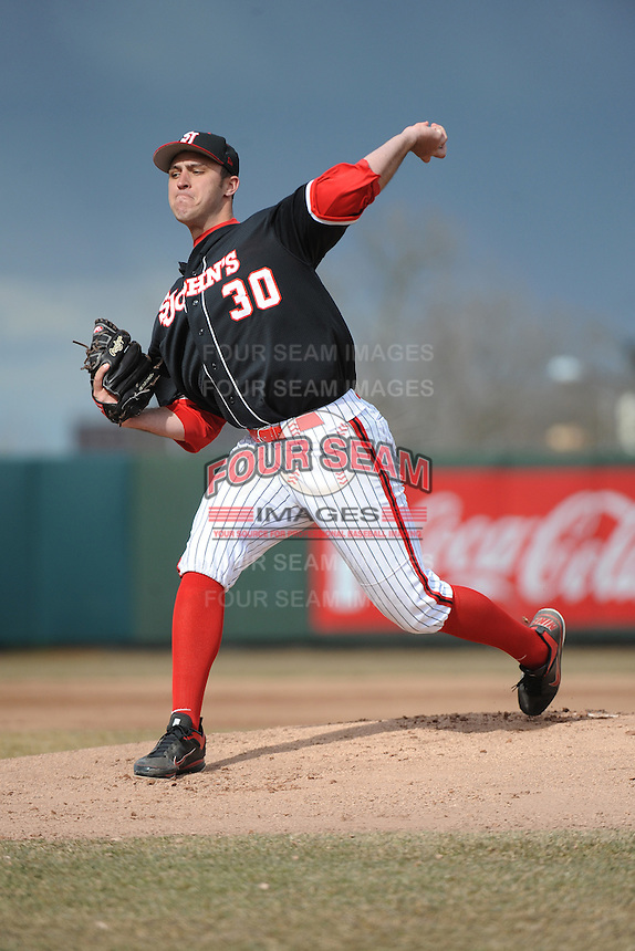 St. John's Redstorm pitcher Sean Hagan (30) during 2nd game of double header against the University of Cincinnati Bearcats at Jack Kaiser Stadium on March 28, 2013 in Queens, New York. Cincinnati defeated St. John's 6-5.      . (Tomasso DeRosa/ Four Seam Images)