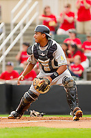 Catcher Elias Diaz #30 of the West Virginia Power waits for a throw at home plate during the game against the Kannapolis Intimidators at Fieldcrest Cannon Stadium on April 20, 2011 in Kannapolis, North Carolina.   Photo by Brian Westerholt / Four Seam Images