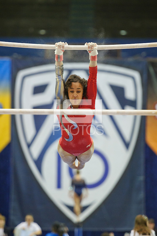 LOS ANGELES, CA - March 19, 2011:  Stanford's Ashley Morgan competes on the uneven bars during the Pac-10 Championship at UCLA's Pauley Pavilon.   Stanford placed fourth in the competition.