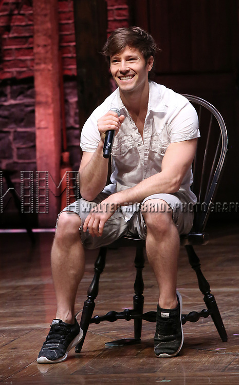"""Thayne Jasperson during a Q & A before The Rockefeller Foundation and The Gilder Lehrman Institute of American History sponsored High School student #eduHam matinee performance of """"Hamilton"""" at the Richard Rodgers Theatre on May 9, 2018 in New York City."""