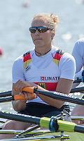Brandenburg. GERMANY.<br /> GER W4X. Marie-Catherine ARNOLD,  at the start of their heat. 2016 European Rowing Championships at the Regattastrecke Beetzsee<br /> <br /> Friday  06/05/2016<br /> <br /> [Mandatory Credit; Peter SPURRIER/Intersport-images]