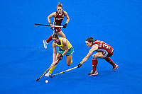 2nd February 2020; Sydney Olympic Park, Sydney, New South Wales, Australia; Womens International FIH Field Hockey, Australia versus Great Britain Women; Grace Stewart of Australia takes the ball past Grace Balsdon of Great Britain