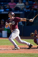 Harry Darling #18 of the Boston College Eagles follows through on his swing versus the Florida State Seminoles at Durham Bulls Athletic Park May 20, 2009 in Durham, North Carolina. (Photo by Brian Westerholt / Four Seam Images)