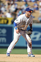 08/26/12 Los Angeles, CA: Los Angeles Dodgers third baseman Nick Punto #7 during an MLB game played between the Los Angeles Dodgers and the Miami Marlins at Dodger Stadium. The Marlins Defeated the Dodgers 6-2