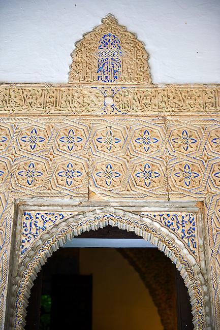 Arabesque Mudéjar style plaster workof the  Alcazar of Seville, Seville, Spain