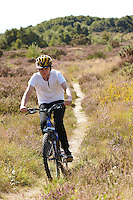 Josh  riding Kona mountain bike , Chobham Common, Surrey.   September    2013.