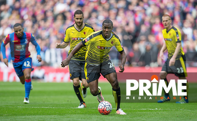 Odion Ighalo of Watford in action during the FA Cup Semi Final match between Crystal Palace and Watford at Wembley Stadium, London, England on 24 April 2016. Photo by Andy Rowland.