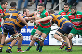 Irwin Finau tries to break past Tamati Fromm and Troy Abernethy. Counties Manukau Premier Club Rugby game between Waiuku and Patumahoe, played at Waiuku on Saturday April 28th, 2018. Patumahoe won the game 18 - 12 after trailing 10 - 12 at halftime. <br /> Waiuku Brian James Contracting 12 - Apec Togafau, Nathan Millar tries, Christian Walker conversion.<br /> Patumahoe Troydon Patumahoe Hotel 18 - Vernon Comley, Riley Hohepa tries, Riley Hohepa conversion, Riley Hohepa 2 penalties.<br /> Photo by Richard Spranger