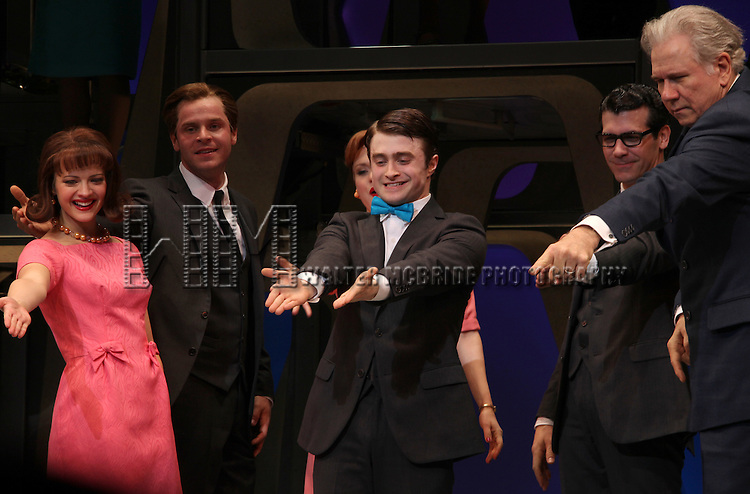 Rose Hemingway, Daniel Radcliffe, John Larroquette & ensemble cast.during the Opening Night Performance Curtain Call for  'How To Succeed In Business...' in New York City.