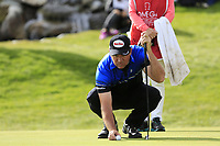 Scott Hend (AUS) lines up his putt on the 18th green on the 1st playoff hole during Sunday's Final Round of the 2017 Omega European Masters held at Golf Club Crans-Sur-Sierre, Crans Montana, Switzerland. 10th September 2017.<br /> Picture: Eoin Clarke | Golffile<br /> <br /> <br /> All photos usage must carry mandatory copyright credit (&copy; Golffile | Eoin Clarke)