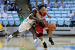 13 November 2015: Gardner-Webb's Alexus Hill (25) steals the ball from North Carolina's Destinee Walker (24). The University of North Carolina Tar Heels hosted the Gardner-Webb University Runnin' Bulldogs at Carmichael Arena in Chapel Hill, North Carolina in a 2015-16 NCAA Division I Women's Basketball game. Gardner-Webb won the game 66-65.