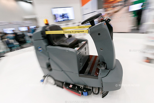 Brain Corporation's ICE RS26 autonomous cleaning robot performs during SoftBank Robot World 2017 on November 21, 2017, Tokyo, Japan. SoftBank Robotics organized SoftBank Robot World 2017 to introduce AI (Artificial Intelligence) and IoT (the Internet of Things) companies developing the latest technology for robots, including applications its humanoid robot Pepper in various business fields. The robot expo runs until November 22. (Photo by Rodrigo Reyes Marin/AFLO)