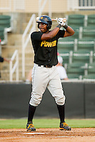 West Virginia Power right fielder Josh Bell (2) at bat against the Kannapolis Intimidators at CMC-Northeast Stadium on July 9, 2013 in Kannapolis, North Carolina.  The Power defeated the Intimidators 3-1.   (Brian Westerholt/Four Seam Images)
