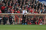 Nottingham Forest 2 Yeovil Town 5, 18/05/2007. City Ground, League One Play Off Semi Final 2nd Leg. Nottingham Forest's manager Colin Calderwood rolling his sleeves up during his side's League One play-off semi-final match against Yeovil Town at the City Ground. Forest had won the first leg by 2 goals to nil at Yeovil the previous week but were defeated by 5 goals to 2 after extra time and missed out on the play-off final at Wembley. Yeovil went on to play Blackpool in the final for the one remaining promotion place to the Championship. Photo by Colin McPherson.