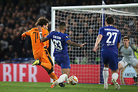 Emerson of Chelsea toe pokes the ball away from PAOK Salonika's Amr Warda to prevent an almost certain goal during Chelsea vs PAOK Salonika, UEFA Europa League Football at Stamford Bridge on 29th November 2018