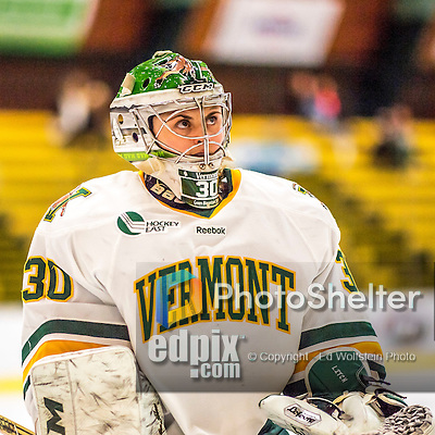 25 November 2016: University of Vermont Catamount Goaltender Madison Litchfield, a Senior from Williston, VT, skates from her crease during a game against the Saint Cloud State Huskies at Gutterson Fieldhouse in Burlington, Vermont. The Lady Cats defeated the Huskies 5-1 to take the first game of the 2016 Windjammer Classic Tournament. Mandatory Credit: Ed Wolfstein Photo *** RAW (NEF) Image File Available ***