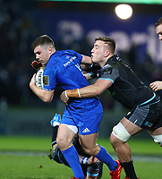 28th February 2020; RDS Arena, Dublin, Leinster, Ireland; Guinness Pro 14 Rugby, Leinster versus Glasgow; Luke McGrath (Leinster) is tackled by Matt Fagerson (Glasgow Warriors)