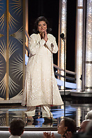 HFPA President Meher Tatna onstage during the 76th Annual Golden Globe Awards at the Beverly Hilton in Beverly Hills, CA on Sunday, January 6, 2019.<br /> *Editorial Use Only*<br /> CAP/PLF/HFPA<br /> Image supplied by Capital Pictures