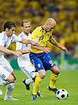 Fredrik Ljungberg, Gourkas Seitaridis and Angelos Basinas at Euro 2008 Greece-Sweden 06102008, Salzburg, Austria