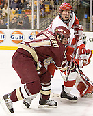 Benn Ferreiro, Kevin Schaeffer - The Boston University Terriers defeated the Boston College Eagles 2-1 in overtime in the March 18, 2006 Hockey East Final at the TD Banknorth Garden in Boston, MA.