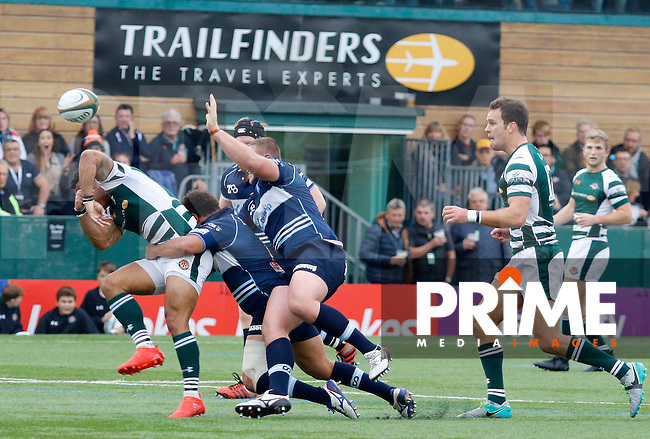 Ealing's Curtis Wilson loses the ball during the Greene King IPA Championship match between Ealing Trailfinders and Bedford Blues at Castle Bar , West Ealing , England  on 29 October 2016. Photo by Carlton Myrie / PRiME Media