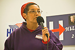 Hillary Clinton supporters, Pre-Caucus meeting, Jefferson County WA Democrats for Hillary, Port Townsend, Connie Gallant, Chair 24th Legislative District, Hillary for President, speaker, Jefferson County, Washington State, 02-17-2016,