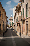 Narrow street in the village of Llucmajor, Mallorca