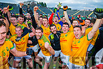 South Kerry team celebrate after winning the Kerry County Senior Football Final at Fitzgerald Stadium on Sunday.