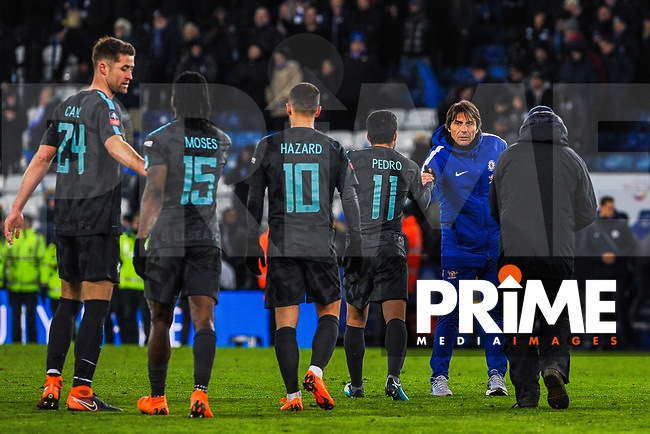 Chelsea manager Antonio Conte shakes Pedro's hand during the FA Cup QF match between Leicester City and Chelsea at the King Power Stadium, Leicester, England on 18 March 2018. Photo by Stephen Buckley / PRiME Media Images.