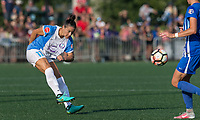 Boston, MA - Saturday August 19, 2017: Ali Krieger during a regular season National Women's Soccer League (NWSL) match between the Boston Breakers (blue) and the Orlando Pride (white/light blue) at Jordan Field. Orlando Pride defeated Boston Breakers, 2-1.