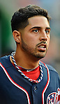 16 May 2012: Washington Nationals pitcher Gio Gonzalez looks out from the dugout during a game against the Pittsburgh Pirates at Nationals Park in Washington, DC. The Nationals defeated the Pirates 7-4 in the first game of their 2-game series. Mandatory Credit: Ed Wolfstein Photo