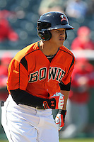Bowie BaySox shortstop Manny Machado #3 during a game against the Harrisburg Senators at Prince George's Stadium on April 8, 2012 in Bowie, Maryland.  Harrisburg defeated Bowie 5-2.  (Mike Janes/Four Seam Images)