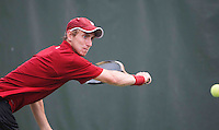 STANFORD-March 30, 2013: John Morrissey during the Stanford vs UCLA tennis match Saturday afternoon at the Taube Family Tennis Stadium before the match was halted because of rain.<br /> <br /> When the match resumed on Sunday UCLA won 5-2.