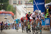 Kobashi Yuri (JPN) biting his way up the very steep cobbles of 23rd Street<br /> <br /> U23 Road Race<br /> UCI Road World Championships Richmond 2015 / USA