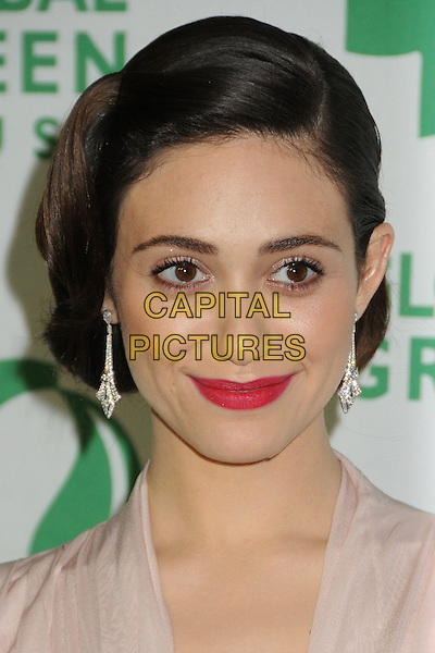 Emmy Rossum.10th Annual Global Green USA Pre-Oscar Party held at Avalon, Hollywood, California, USA, 20th February 2013..portrait headshot dangly make-up beauty hair up 30s thirties red lipstick retro style earrings  peach nude cream .CAP/ADM/BP.©Byron Purvis/AdMedia/Capital Pictures.