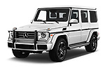 2018 Mercedes Benz G-Class G550 5 Door SUV angular front stock photos of front three quarter view