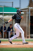 GCL Marlins Cameron Barstad (6) bats during a Gulf Coast League game against the GCL Astros on August 8, 2019 at the Roger Dean Chevrolet Stadium Complex in Jupiter, Florida.  GCL Marlins defeated GCL Astros 5-4.  (Mike Janes/Four Seam Images)