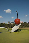 Minnesota, Twin Cities, Minneapolis-Saint Paul: Sculpture Spoonbridge and Cherry by Claes Oldenburg at the Minnesota Sculpture Garden next to the Walker Art Center..Photo mnqual205-75230..Photo copyright Lee Foster, www.fostertravel.com, 510-549-2202, lee@fostertravel.com.